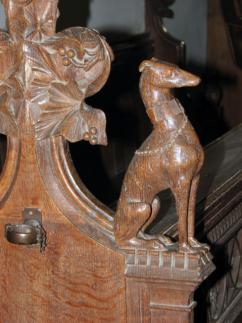 St Mary's church in Huntingfield - Victorian bench end
