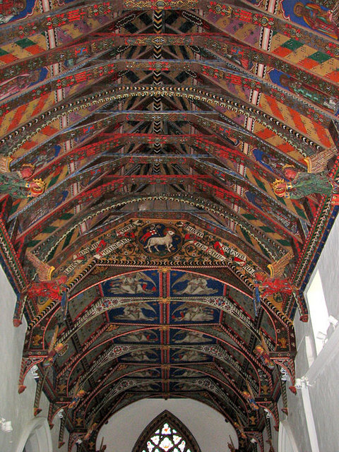 St Mary's church in Huntingfield - the painted roof