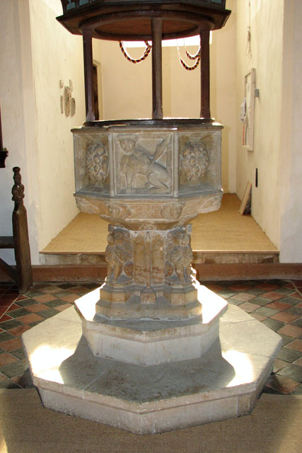 St Mary's church in Huntingfield - C15 baptismal font