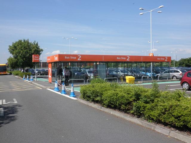 Bus shelter, long term car park, Heathrow Airport