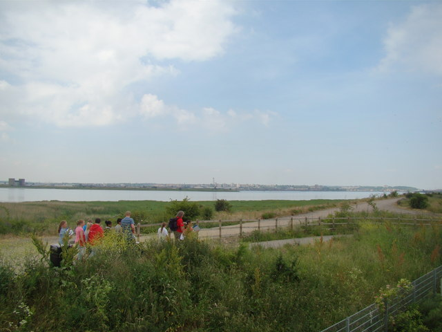 View of Erith from the steps on Rainham Marshes Information Centre