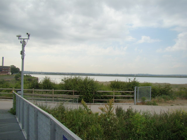 View of Dartford from the Rainham Marshes Information Centre steps