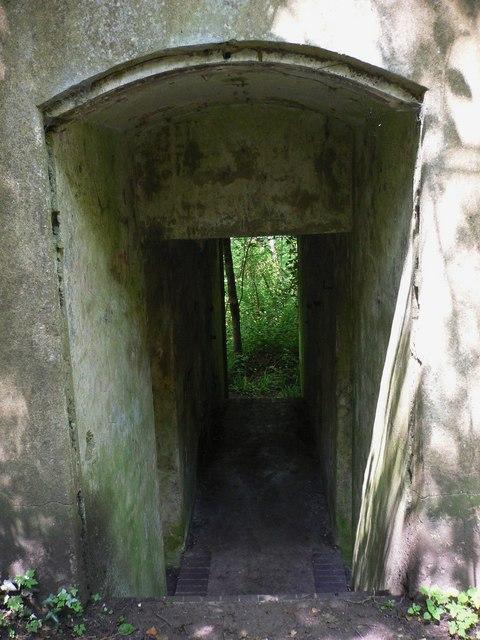 Corridor through derelict building