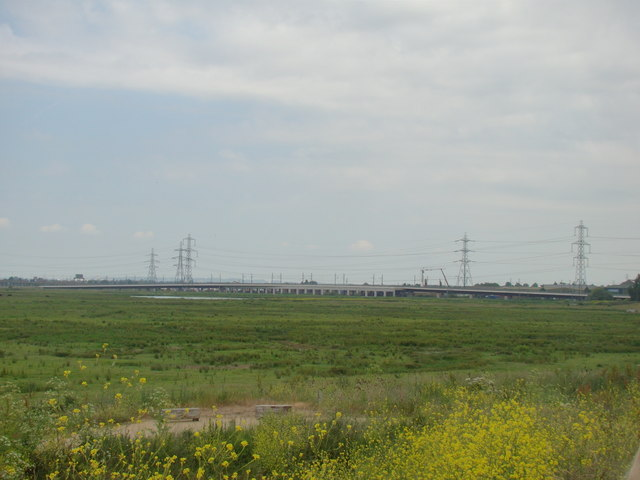 View of the CTRL Viaduct from Rainham Marshes