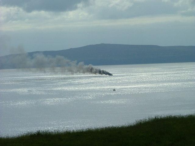 Fishing boat on fire on Loch Snizort