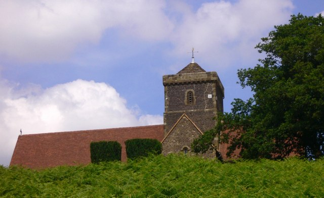 St Martha's church seen from bridleway to the south