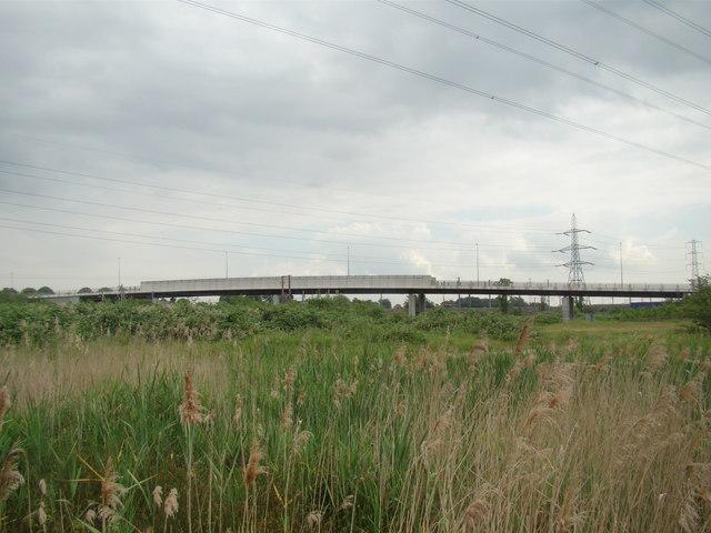 New Tank Hill Road bridge, viewed from Rainham Marshes Nature Reserve