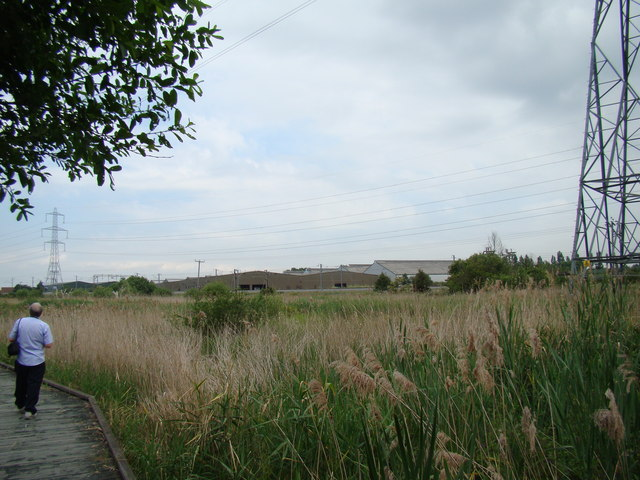 Industrial buildings on Juliette Way, viewed from Rainham Marshes Nature Reserve