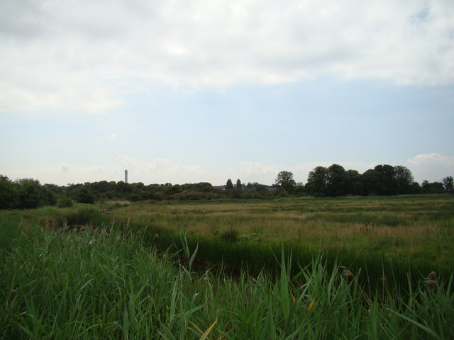 View of Littlebrook Power Station chimney from Rainham Marshes Nature Reserve