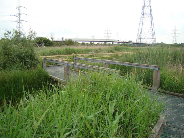 View of New Tank Hill Road bridge, viewed from the main path through Rainham Marshes Nature Reserve