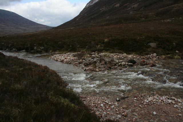 Avalanche debris in river