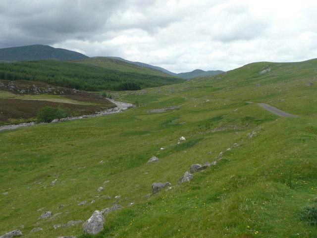 Allt Fearnach and the road up Gleann Fearnach