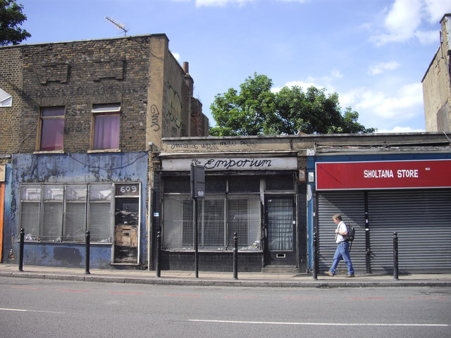 Old shops in Commercial Road, London E14