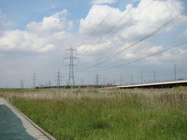 CTRL viaduct, c2c railway and A13 road bridge, viewed from Rainham Marshes Nature Reserve