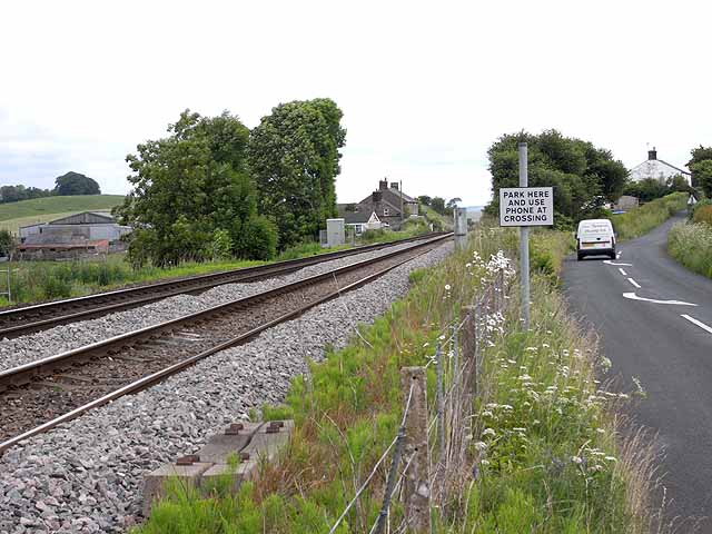 Road and railway at Upper Denton