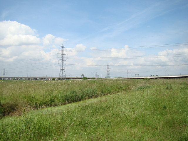 The c2c railway, CTRL and A13 viewed from Rainham Marshes Nature Reserve