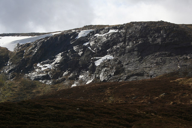 Crags, East face of Monadh Mor