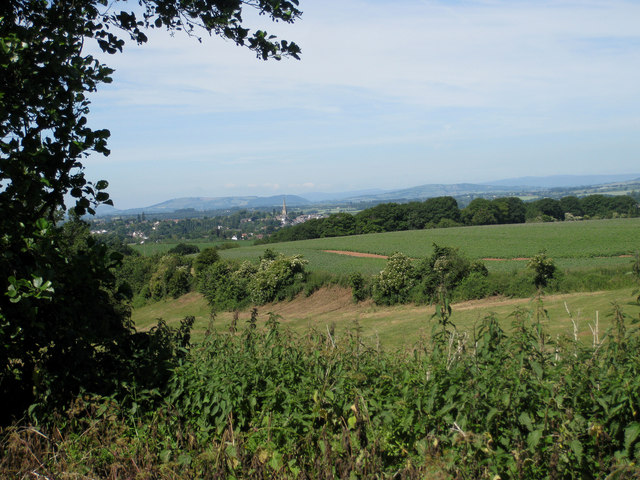 View to Ross-on-Wye from a farm track