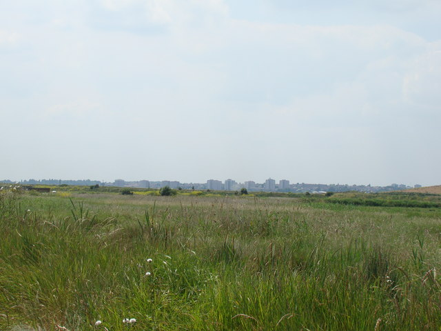 View of Erith against the foreground of the Rainham Marshes #3