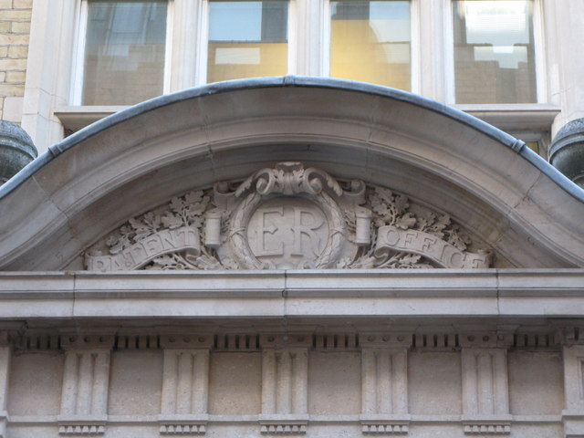 Inscribed stone over the entrance to the Patent Office building, Furnival Street, EC4