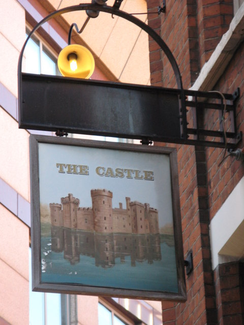 Sign for The Castle, Furnival Street / Norwich Street, EC4