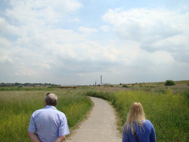 View of QEII Bridge and Littlebrook Power Station, viewed from Rainham Marshes Nature Reserve #3