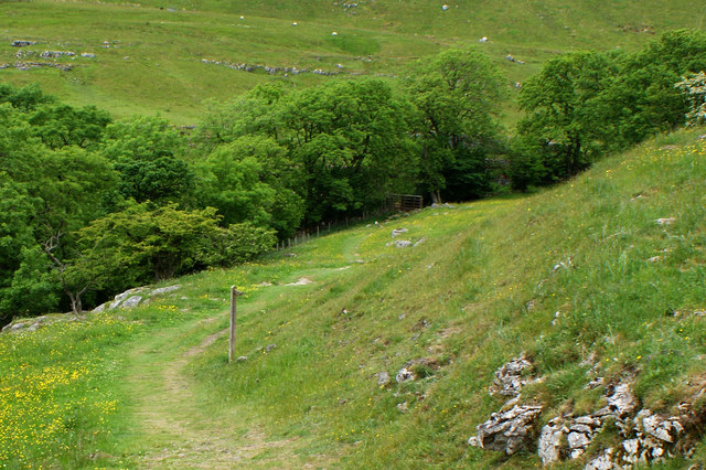 The path down to the footbridge at Crook Gill