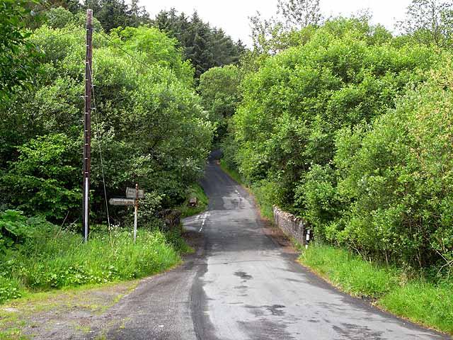 Road junction at Glen Cune