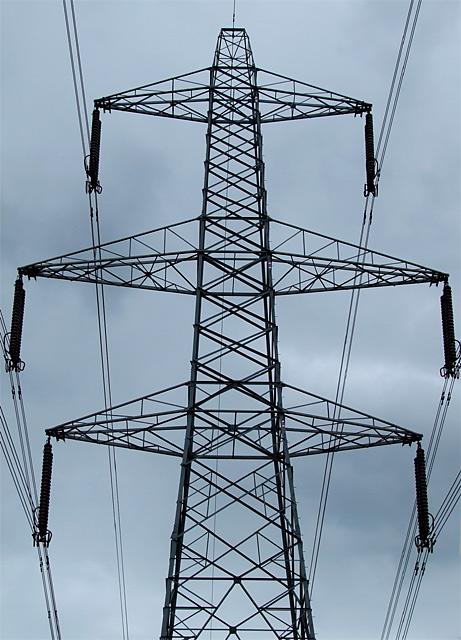 Pylon and power-lines near Lichfield, Staffordshire