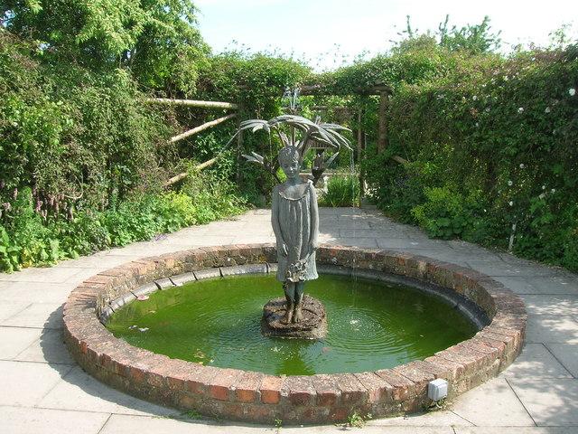 Fountain sculpture, walled gardens, Burton Agnes Hall
