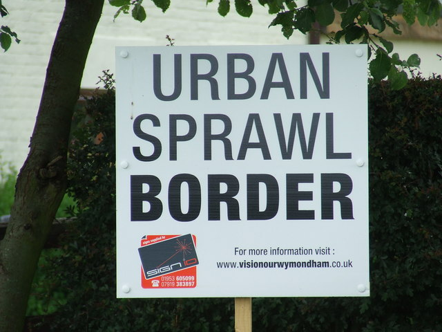 Urban Sprawl Border Sign