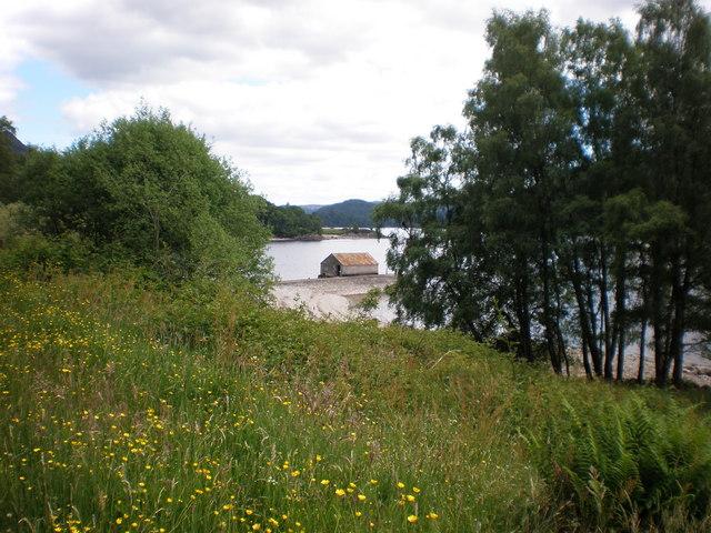 Boat house and pier near Brenachoile Lodge, Loch Katrine