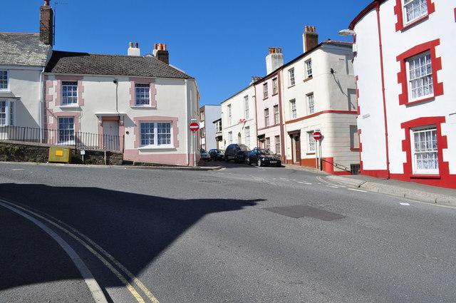 Torridge Hill becomes Meddon Street at the junction with Buttgarden Street and Lower Meddon Street