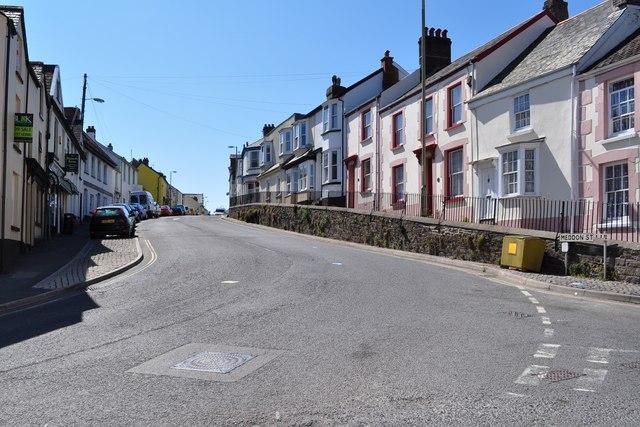 Meddon Street leading away from the junction with Torridge Hill and Lower Meddon Street