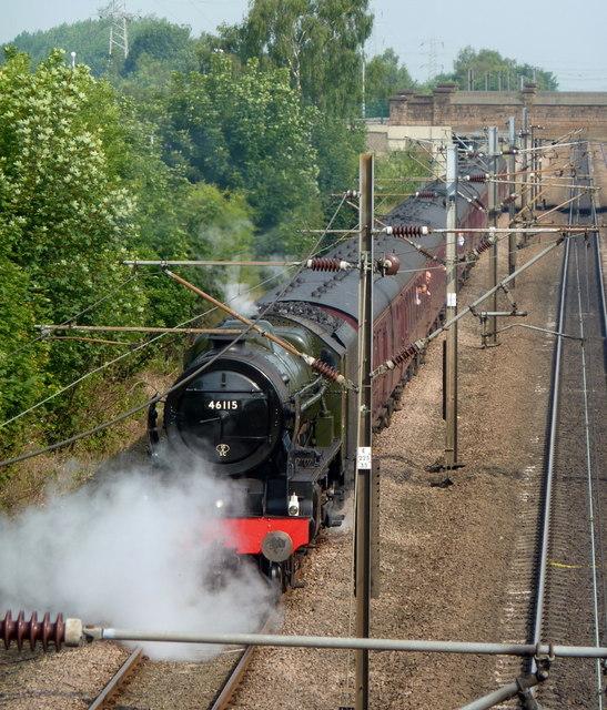Main line steam train special through Retford