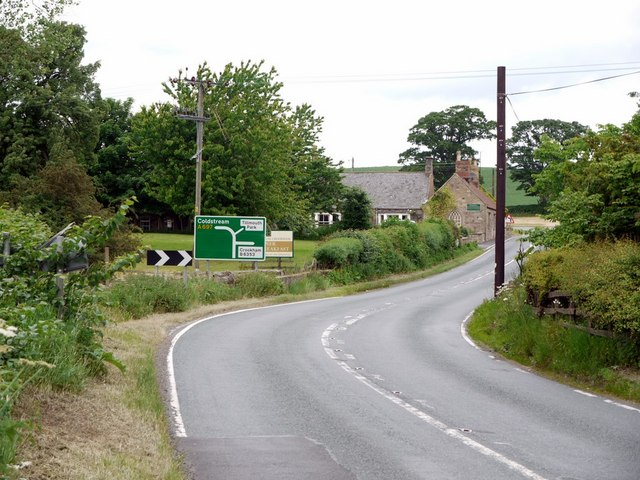 Bend on A697 south of Crookham