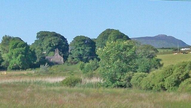 View across marshland towards Penhyddgan