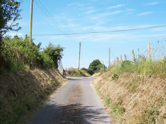 View west towards the crossroads at Groesffordd