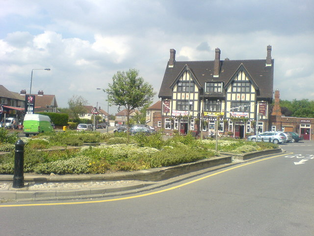 The Albany pub and flower beds
