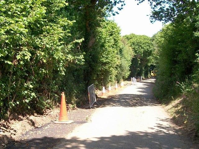 Road works near Wern Farm