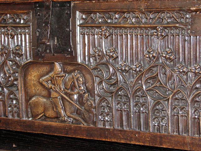 St Edmund's church in Southwold - C15 walnut chest (detail)