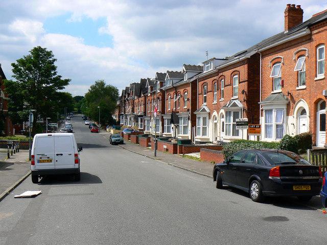 South along Gillott Road, Edgbaston, Birmingham B16