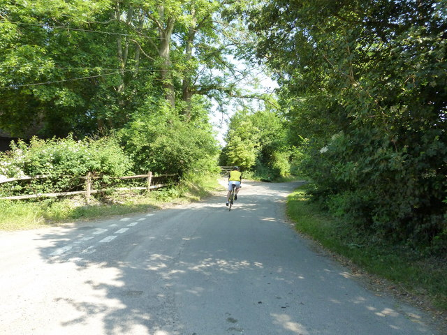 Cyclist heading through Treyford