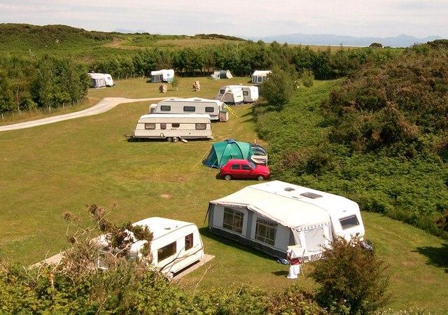 Touring caravan site at Wern Newydd, Llanbedrog