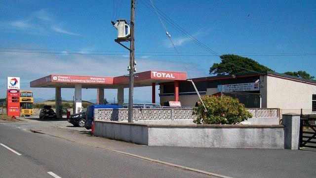 Service station on the A497 on the north-eastern outskirts of Llanbedrog