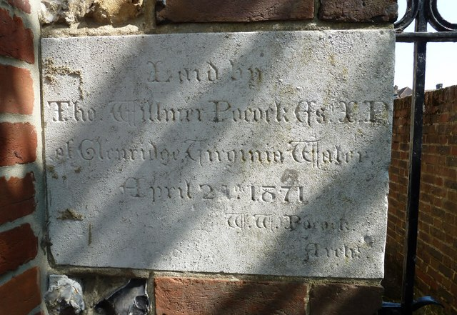 Foundation stone for the church hall in St Peter's Road