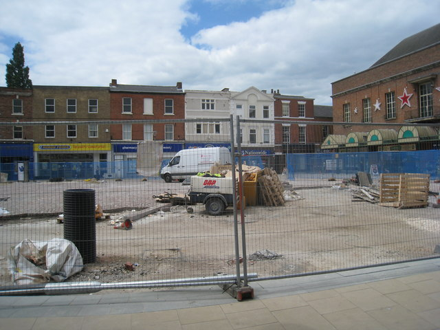Gainsborough Market Place being resurfaced