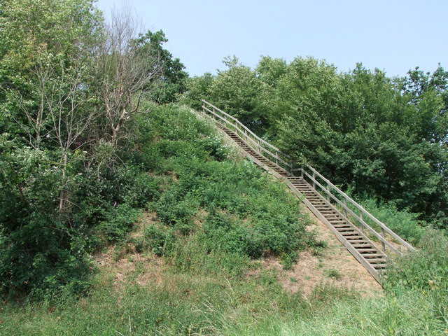 Stairway at The Castle Mound or `Motte`, Mount Bures