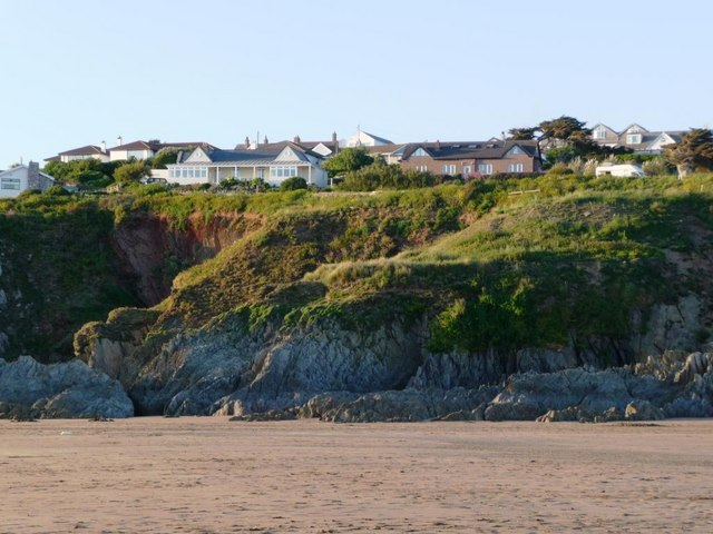 Bungalows and beach, Bigbury on Sea