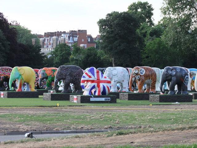 Indian Elephants at London's Elephant Parade